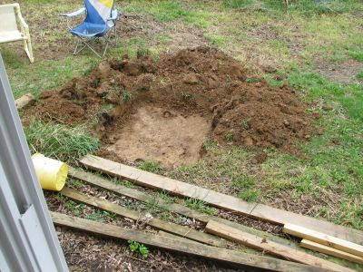 view of septic tank from inside house
