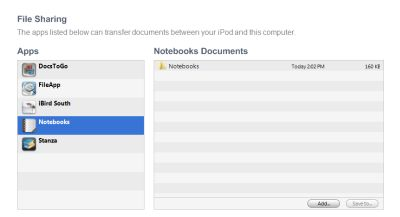 screenshot of the file sharing section of iTunes